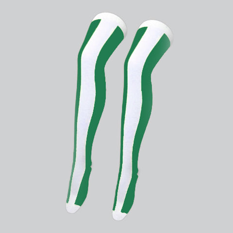 Ladies White/Green OTK Vertical Stripe Over The Knee Socks UK Size 4-6½