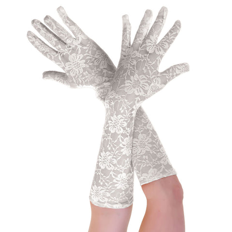 Women's Elegant Long Lace Floral White Gloves Opera Evening Fancy Dress Wedding Party