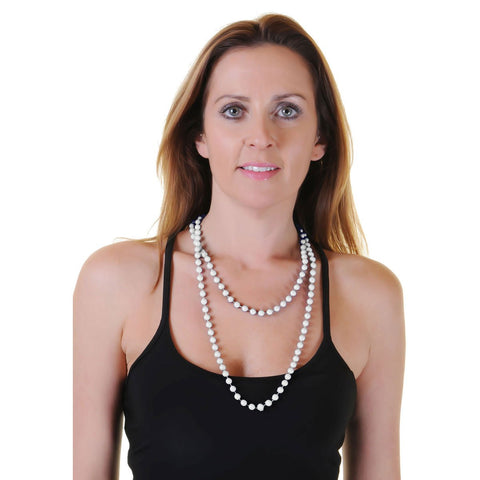 White Plastic Bead Necklace Womens Ladies 80's Parties Fancy Dress Costume Accessory