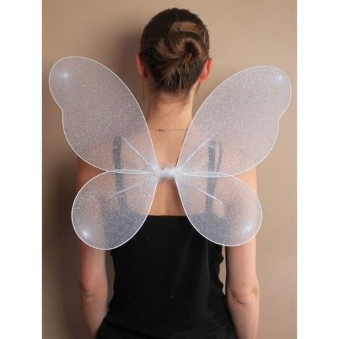 Angel White Net Fairy Wings With Silver Glitter Ladies Fancy Dress Accessory