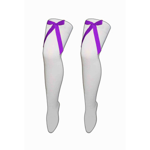 Women White Over The Knees Socks with Purple Bow