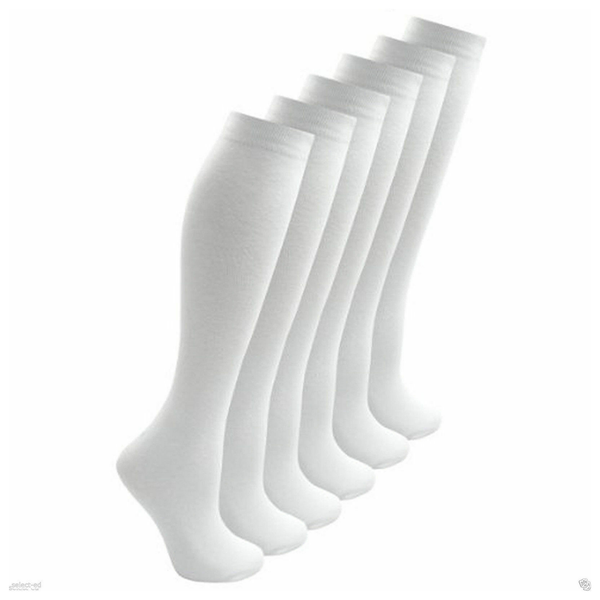 Girls 3 Pairs Value Pack White Plain Knee High Back 2 School Cotton Rich Socks