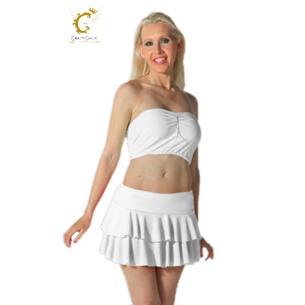 Women White RARA Two Tier Frill Mini Skirt