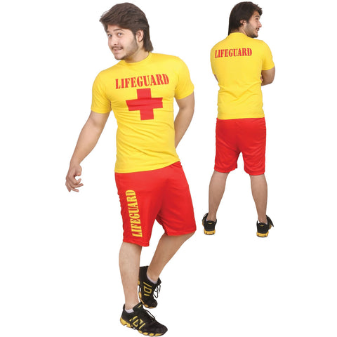 Men Red Yellow Life Guard Fancy Dress T-Shirt Short Beach Rescue Costume Set