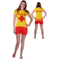 Ladies Red Yellow Life Guard Fancy Dress T-Shirt Short Beach Rescue Costume Set