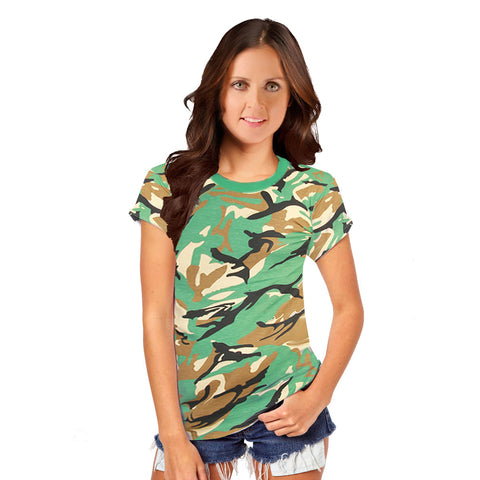 Women Camouflage Green T-Shirt Army Fancy Dress