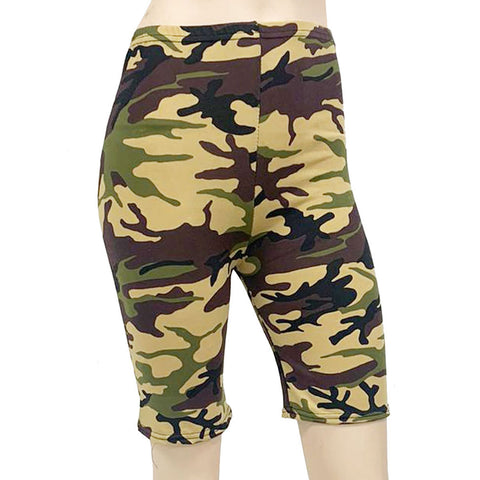 Womens Camouflage Cycling Shorts Gym Dance Wear Fancy Dress