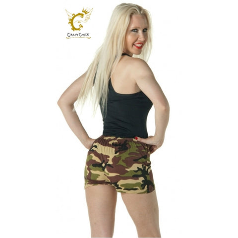 Women Microfiber Hot Pant Ladies Camouflage Stretchy Dance Party Cycling Shorts