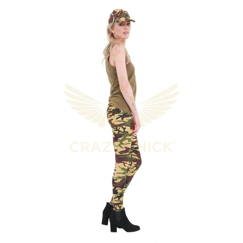 Womens Cotton Camouflage Leggings Ladies Fancy Dress