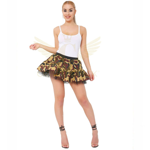 Womens Camouflage TuTu Skirt Ladies Party Fancy Dress