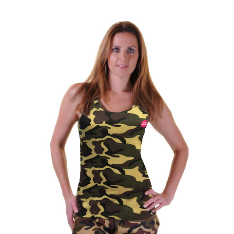Crazy Chick Cotton Camouflage Ladies Vest Top Women's Fancy Dress
