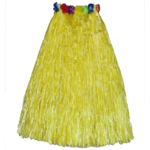 Adult Yellow Hula Skirt with Flowers Hawaiian Beach Party Dress