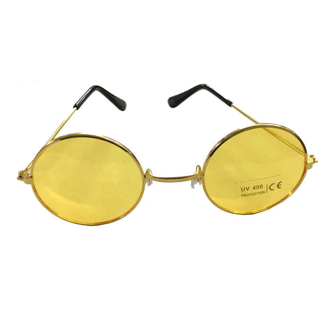 Unisex Yellow Lenses Glasses with Gold Frames Adult Party Fancy Dress Accessory