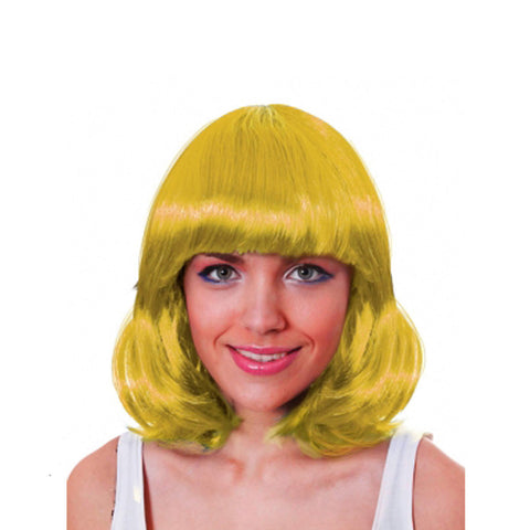 Womens Straight Hair Mid Short Yellow Wig Ladies Fancy Dress Party Accessory