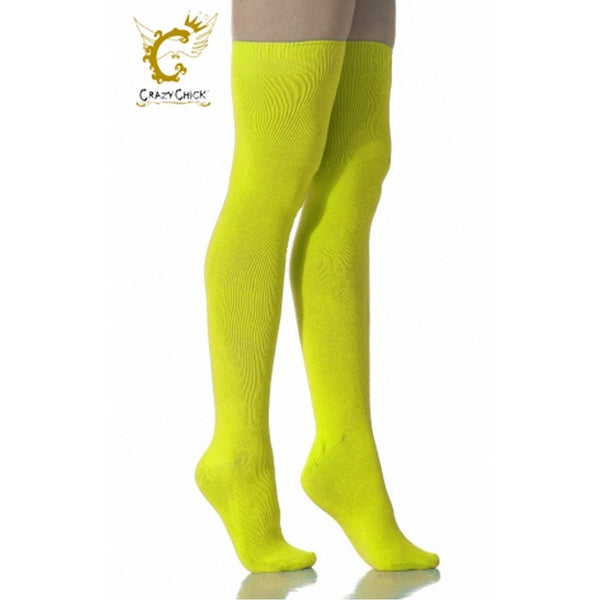 Womens Over The Knees Plain Yellow Socks