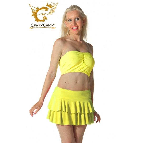 Ladies Women Yellow RARA Two Tier Frill Gym Dance Neon Mini Skirts Fancy Dress
