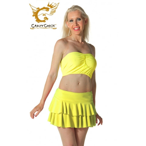 Women Yellow RARA Two Tier Frill Mini Skirt