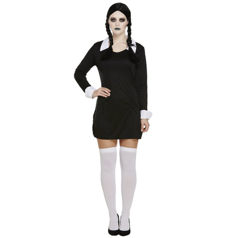 Halloween Scary Daughter Costume Ladies Wednesday Adams Costume UK