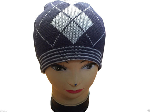 Unisex Knitted Tattoo Argyle Navy White Beanie Hat