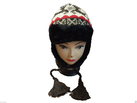 Unisex Knitted Tattoo Ear Lap Grey Black Beanie Fur Hat