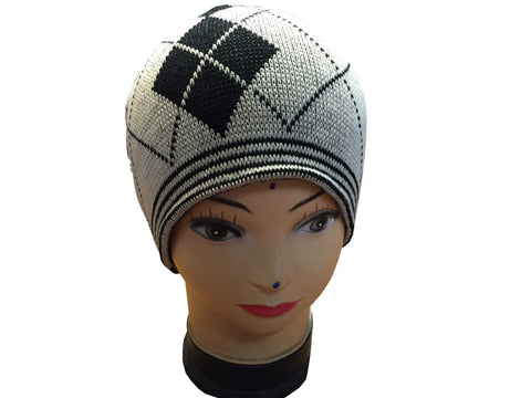 Unisex Knitted Tattoo Argyle Grey Black Beanie Hat