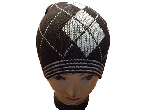 Unisex Knitted Tattoo Argyle Brown White Beanie Hat