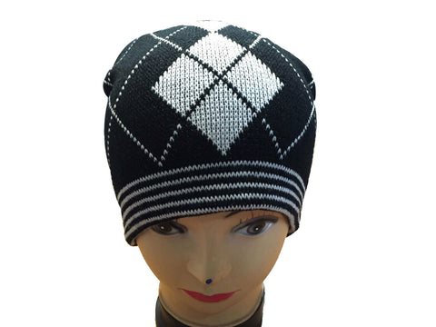 Unisex Knitted Tattoo Argyle Black White Beanie Hat