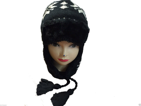 Unisex Knitted Tattoo Ear Lap Black White Beanie Fur Hat