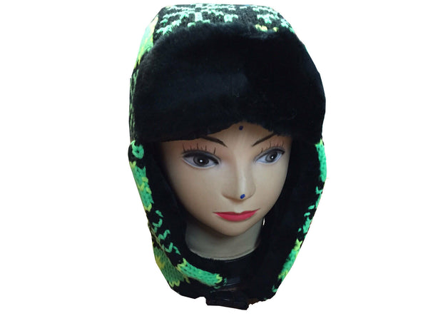 Unisex Knitted Tattoo Rainbow Green Trapper Beanie Hat