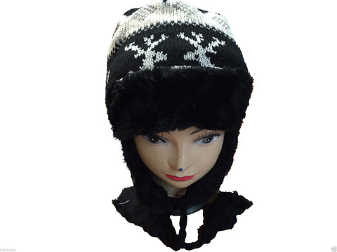 Unisex Knitted Tattoo Ear Lap White Black Beanie Fur Hat