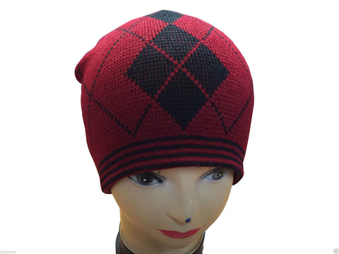 Unisex Knitted Tattoo Argyle Red Black Beanie Hat