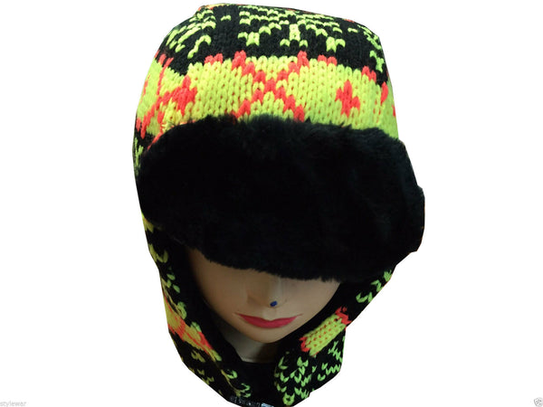 Unisex Knitted Tattoo Rainbow Yellow Trapper Beanie Hat