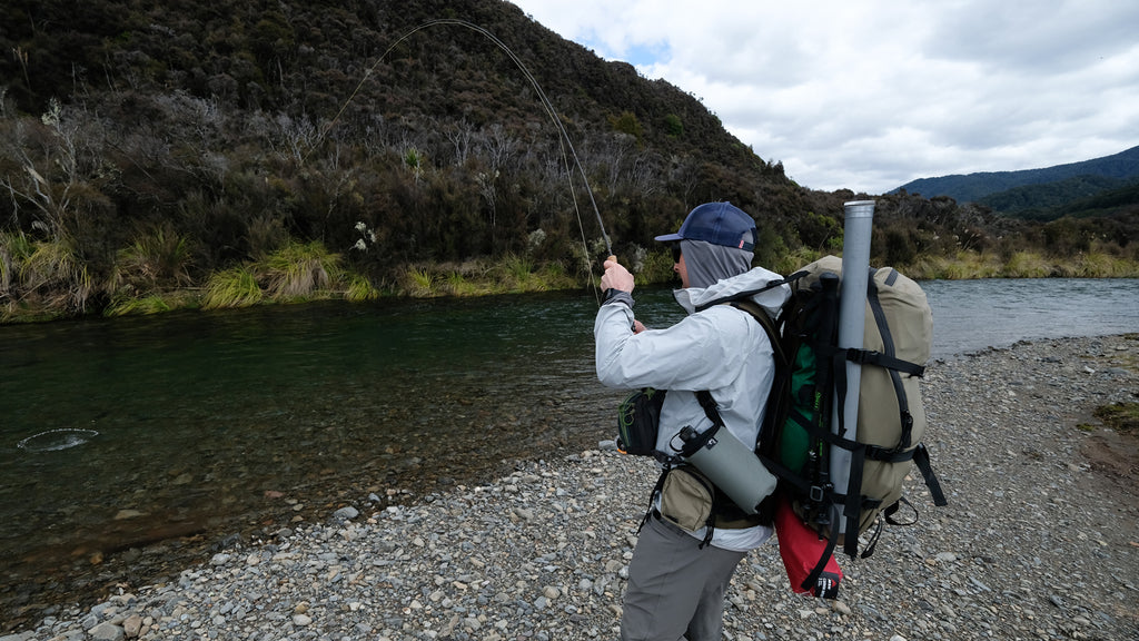 Connected to a New Zealand rainbow trout