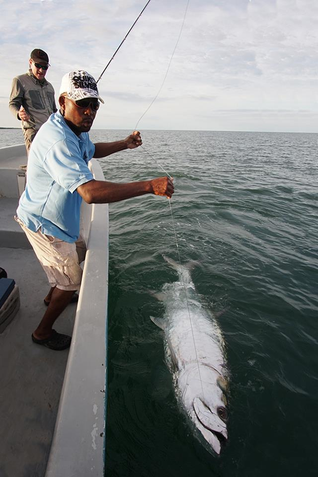 Nick Reygart from Gin Clear Media with a massive Tarpon on fly