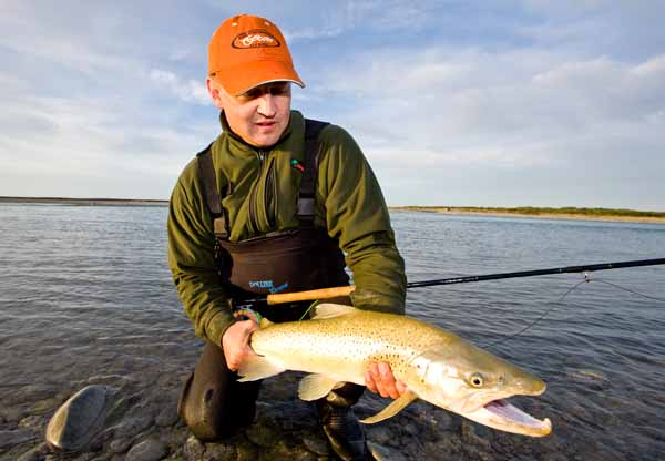Sea Run Brown Trout, Two handed spey rod switch cast tube fly new zealand salmon canterbury rakaia
