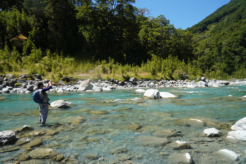 Fly fishing using stoneflies in the NZ back country