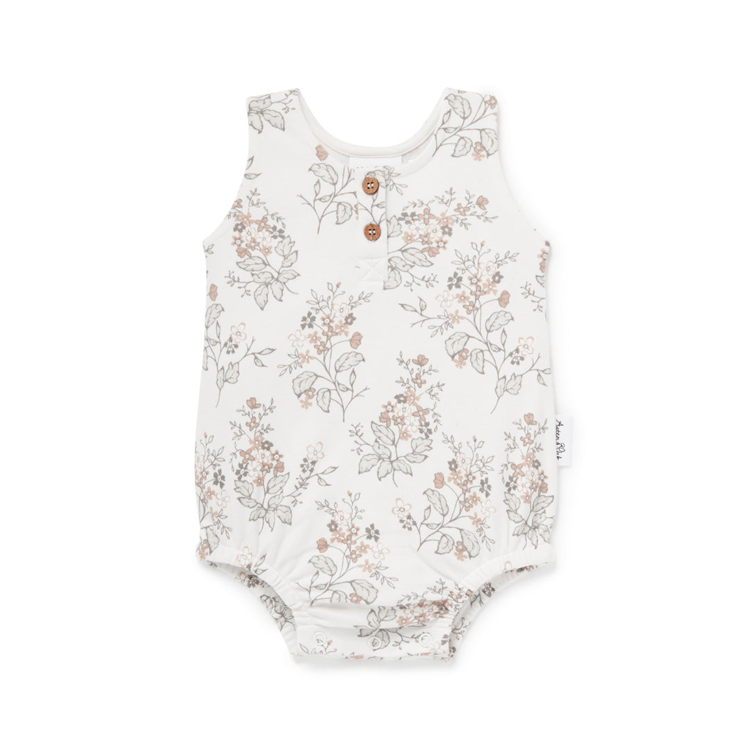 ASTER & OAK FLORAL BUBBLE ROMPER - WHITE ALLYSUM
