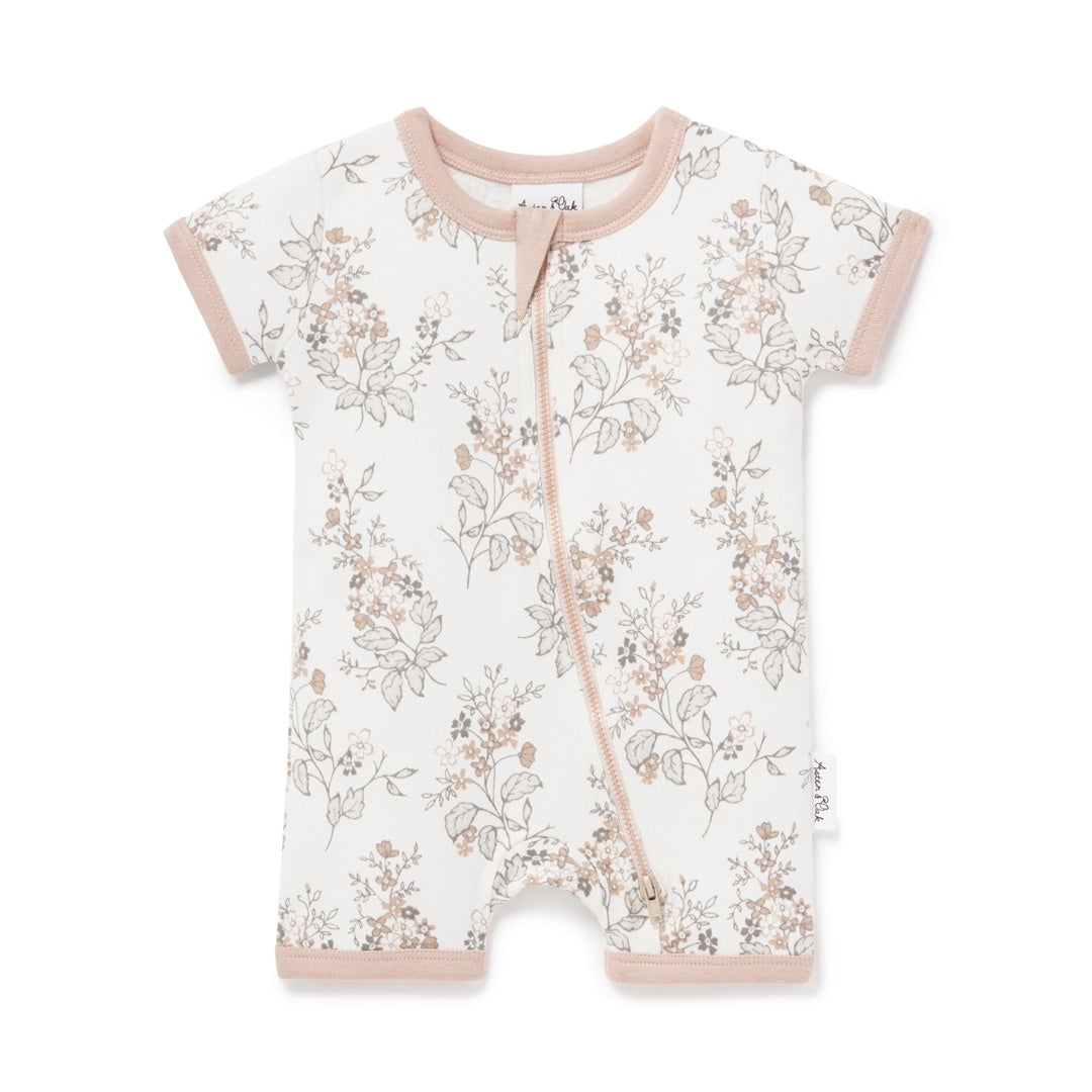 ASTER & OAK FLORAL SHORT ZIP ROMPER - WHITE ALLYSUM