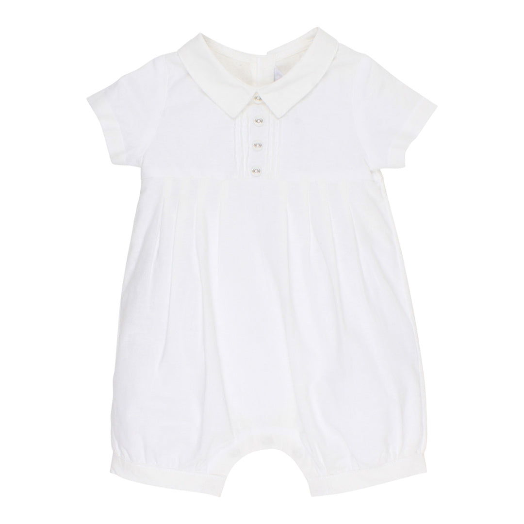 BEBE BOYS PLEAT ROMPER - IVORY