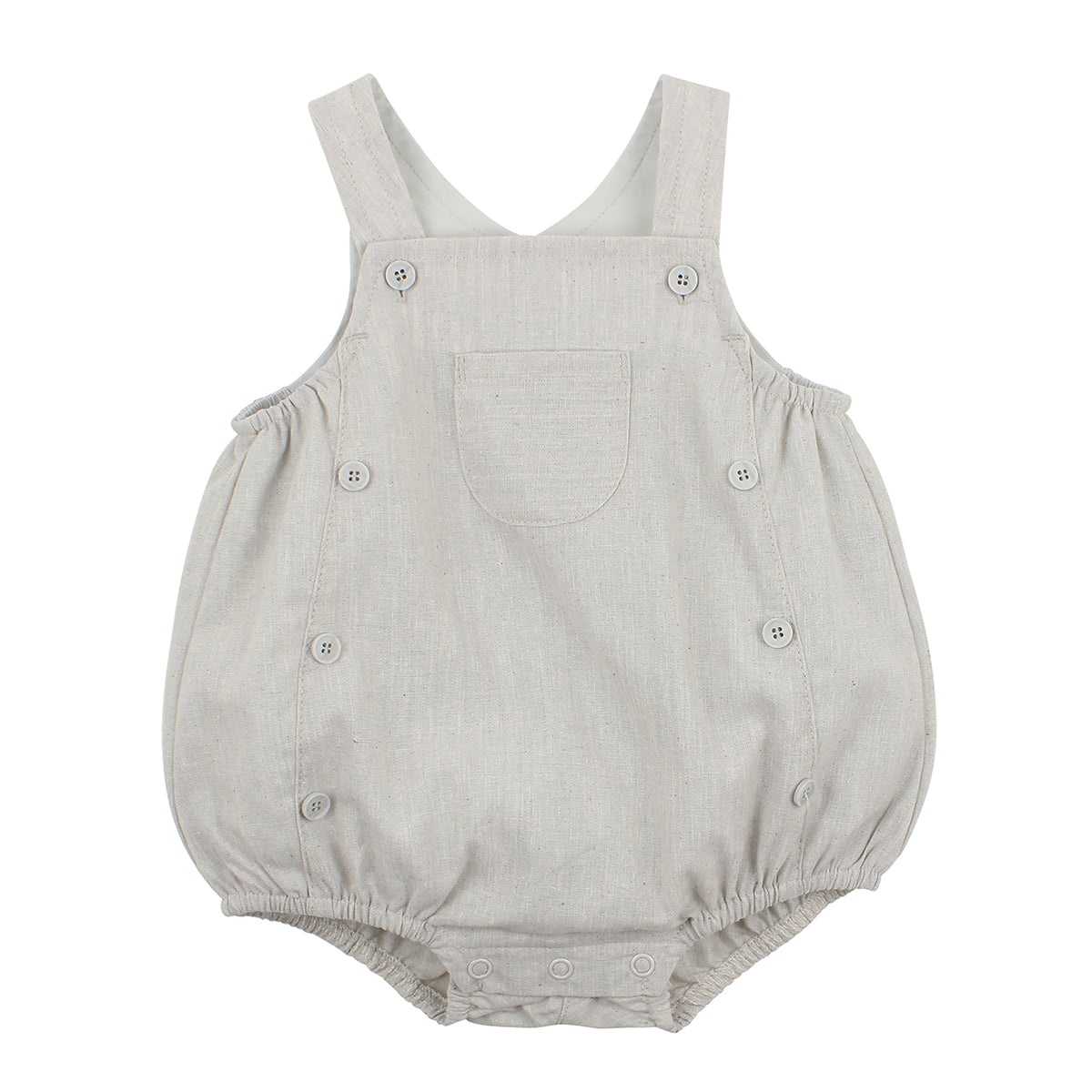 BEBE BOYS HARRY BUTTON FRONT ROMPER - GREY