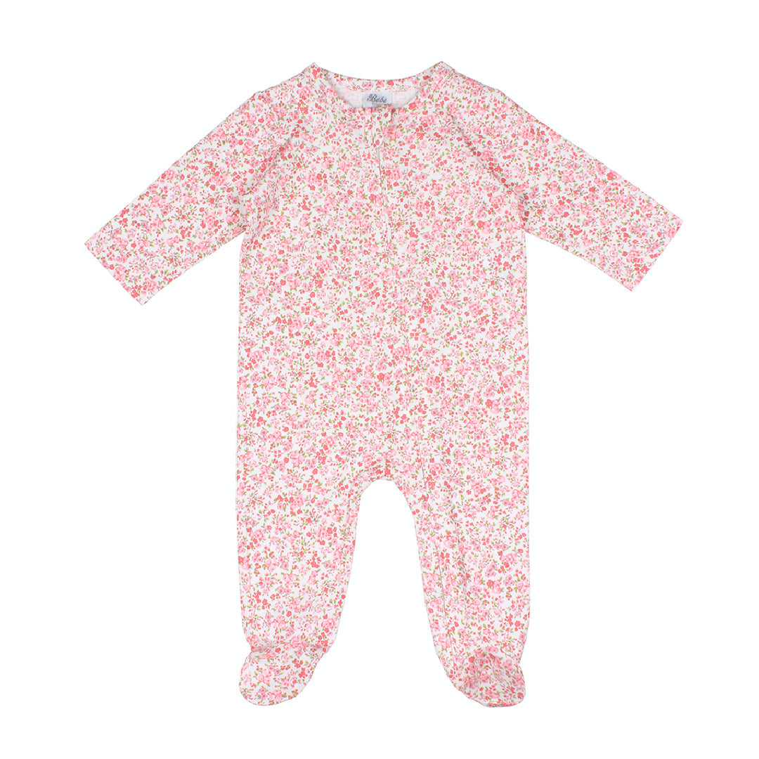 BEBE WHITE LABEL BABY GIRLS L-S FLORAL ROMPER