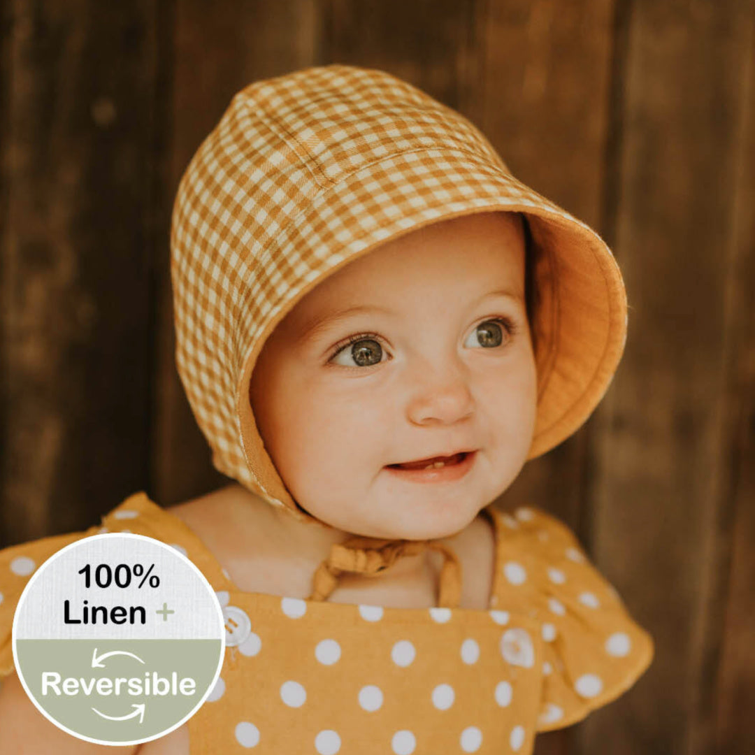 BEDHEAD HERITAGE 'SEEKER' REVERSIBLE SUN BONNET - GINGHAM/MAIZE