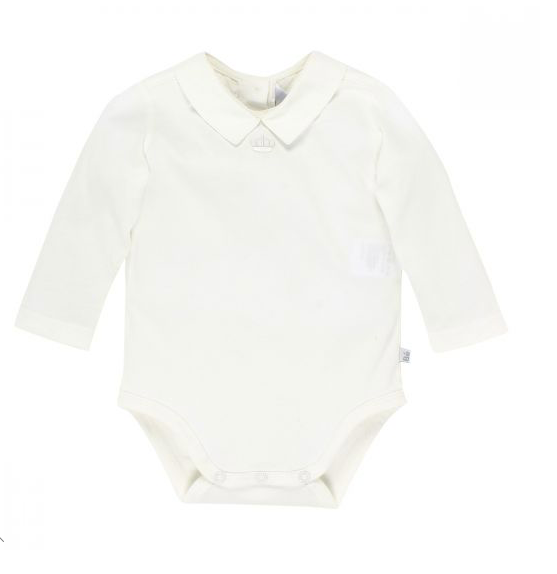 BEBE BOYS L-S ROMPER WITH COLLAR - IVORY