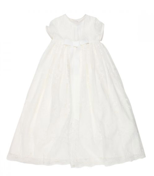 BEBE GIRLS BOW FRONT CHRISTENING DRESS - IVORY