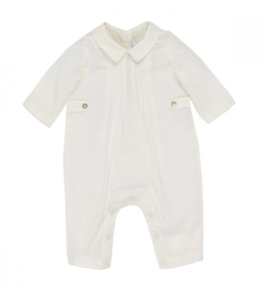 BEBE BOYS L-S PLEAT ROMPER - IVORY