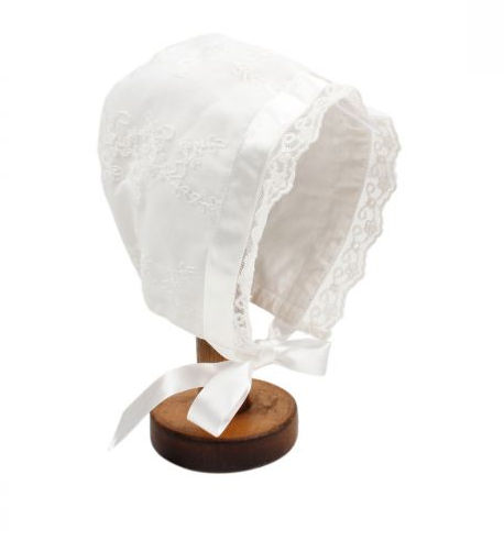BEBE GIRLS LACE BONNET - IVORY
