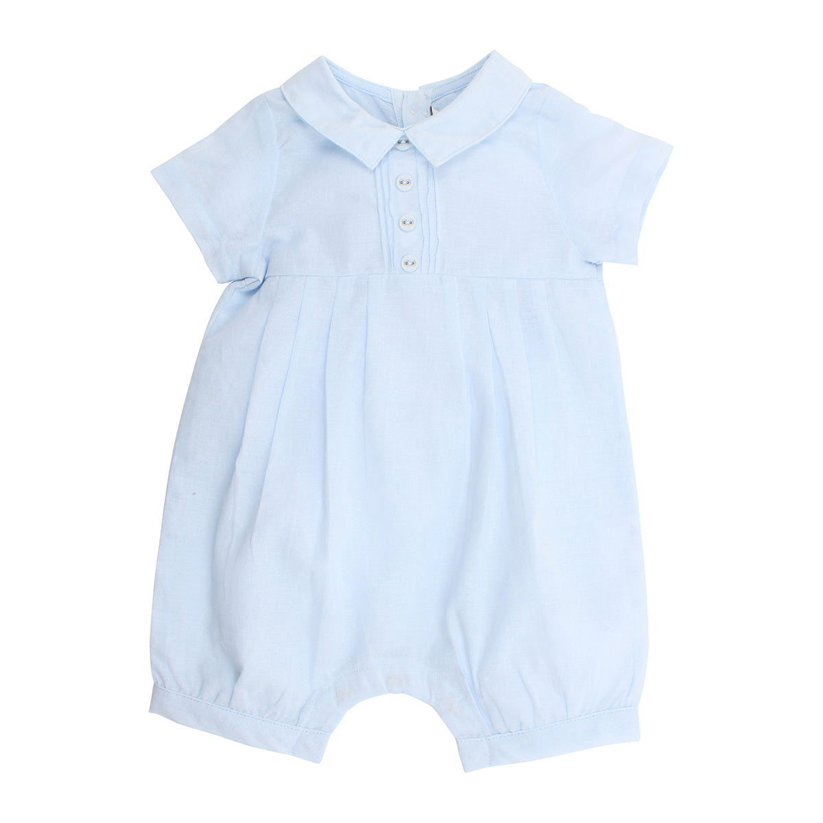 BEBE BOYS PLEAT ROMPER - PALE BLUE