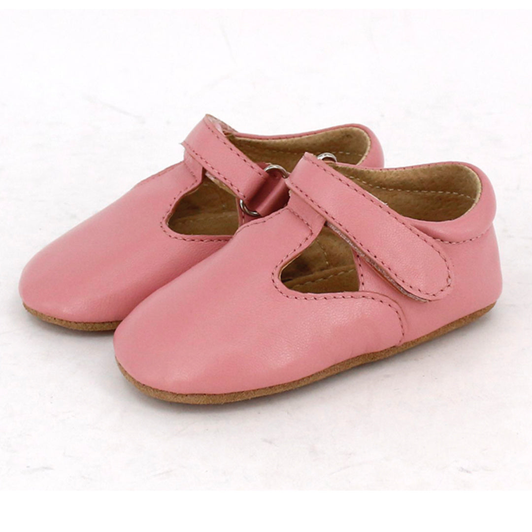SKEANIE PRE-WALKER LEATHER T-BAR SHOES [PINK]