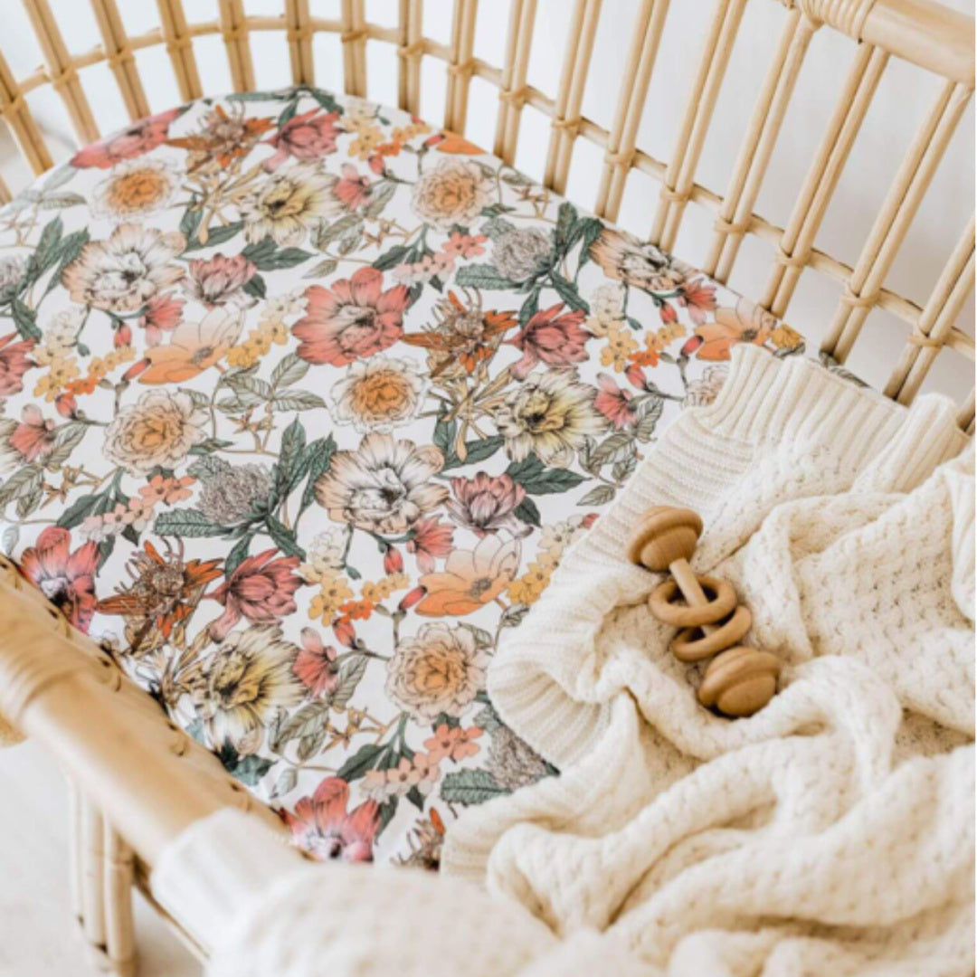 SNUGGLE HUNNY FITTED BASSINET SHEET / CHANGE PAD COVER - AUSTRALIANA