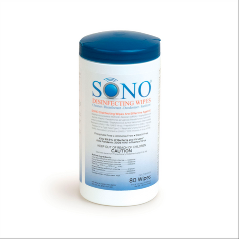 "Surface Disinfectant Wipes | SONO Brand | Case of 6 - 80 Wipe Pull-Canisters 7"" X 8"""